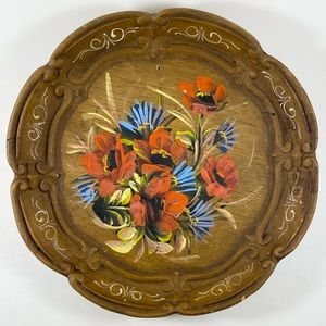 Vintage hand painted decorative wooden plate